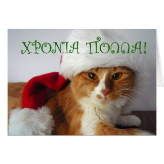 ΧΡΟΝΙΑ ΠΟΛΛΑ - Cat Wearing Santa Hat Card