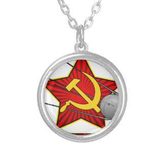 Спутник Sputnik poster art Silver Plated Necklace