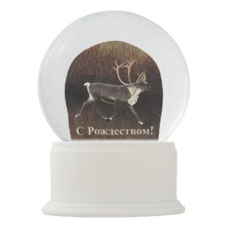 С Рождеством - Bull Caribou (Reindeer) Snow Globe