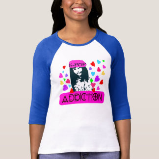 ღ╬♥K-POP-Addiction 3/4 Sleeve Raglan (Fitted)♥╬ღ T-Shirt