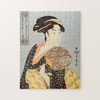 うちわを持つ女, 歌麿 Woman with Round Fan, Utamaro, Ukiyo-e Jigsaw Puzzle