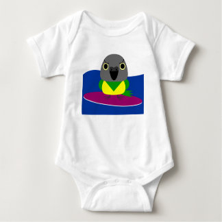 オウム パロット Senegal parrot Surfing Baby Bodysuit