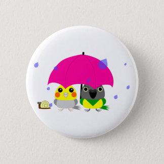 オカメインコ オウム Cockatiel and Senegal Parrot & umbrella 6 Cm Round Badge