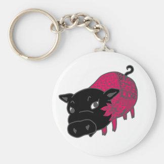 カレーの大好きな、黒豚の名前はチェルシー。black pig Chelsea. Basic Round Button Key Ring