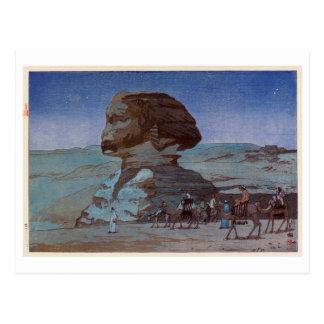 スフィンクス(夜), Sphinx(Night), Hiroshi Yoshida, Woodcut Postcard