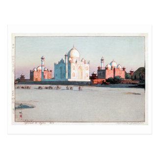 タージ・マハル, Taj Mahal, Agra, Hiroshi Yoshida, Woodcut Postcard