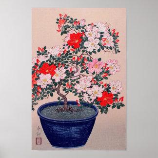 ツツジの盆栽, 小原古邨 Bonsai Azalea, Ohara Koson, Ukiyo-e Poster