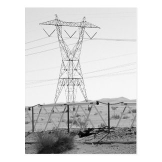 ¯\_(ツ)_/¯ Shrug Electricity Desert California 3 Postcard