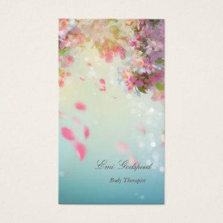 ピンクの花びらが舞うオシャレな名刺 BUSINESS CARD