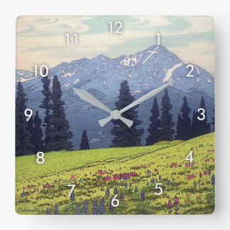 ホリー・クロス山, Mt. Holy Cross, Hiroshi Yoshida, Woodcut Square Wall Clock