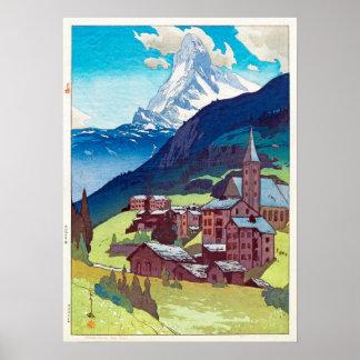 マッターホルン, Matterhorn, Hiroshi Yoshida, Woodcut Poster