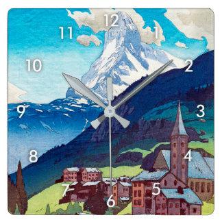 マッターホルン, Matterhorn, Hiroshi Yoshida, Woodcut Square Wall Clock