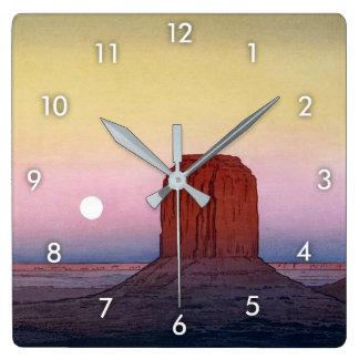 モニュメント・バレー, Monument Valley, Yoshida, Woodcut Square Wall Clock