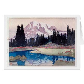 レーニア山, Mount Rainier, Hiroshi Yoshida, Woodcut Card