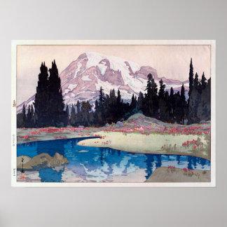 レーニア山 Mount Rainier, Hiroshi Yoshida, Woodcut Poster
