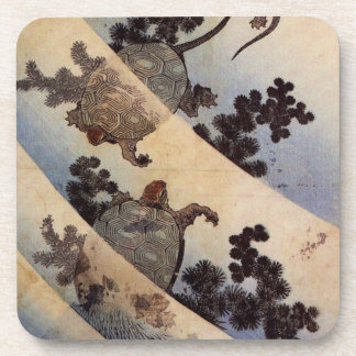 亀, 北斎 Turtles, Hokusai, Ukiyo-e Beverage Coasters