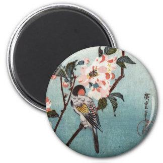 八重桜に鳥, 広重 Cherry Blossom & Bird, Hiroshige, Ukiyoe 6 Cm Round Magnet