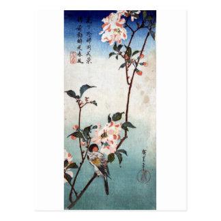 八重桜に鳥, 広重 Cherry Blossom & Bird, Hiroshige, Ukiyoe Postcard