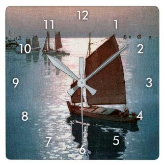 凪静, 吉田博 Calm Wind, Hiroshi Yoshida, Woodcut Square Wall Clock