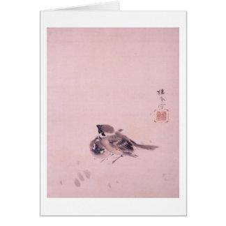 双雀, 栖鳳 Pair of The Sparrow, Seihō, Japanese Art Card