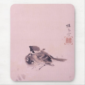 双雀, 栖鳳 Pair of The Sparrow, Seihō, Japanese Art Mouse Pad