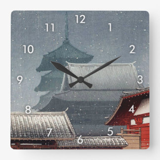 四天王寺, Shitennō-ji in Osaka, Hasui Kawase, Woodcut Square Wall Clock