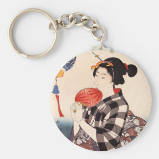 団扇を持つ女, 国芳 Woman with a Round Fan, Kuniyoshi Key Ring