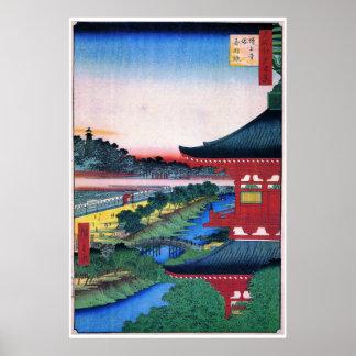 増上寺, 広重 Red Temple, Hiroshige, Ukiyo-e Poster