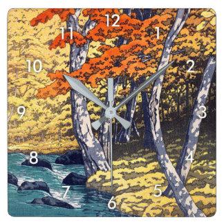 奥入瀬の秋, Autumn at Oirase, Hasui Kawase, Woodcut Square Wall Clock