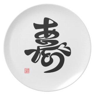 寿 Thank you, (brief note writing) Plate