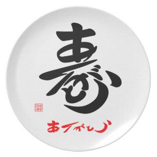 寿 Thank you (cursive style body) E Plate