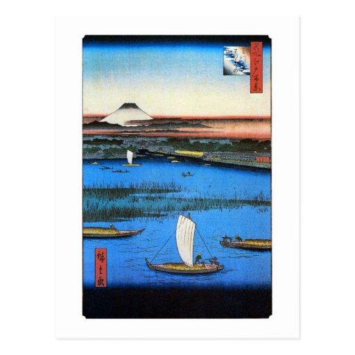 帆掛け舟と富士, 広重 Sailing Ship & Mt. Fuji, Hiroshige Postcard