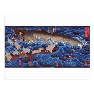 怪物鮫,国芳 Monster Shark, Kuniyoshi, Ukiyo-e Postcard