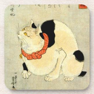 日本猫, 国芳 Japanese Cat, Kuniyoshi, Ukiyo-e Drink Coasters