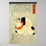 日本猫, 国芳 Japanese Cat, Kuniyoshi, Ukiyo-e Poster