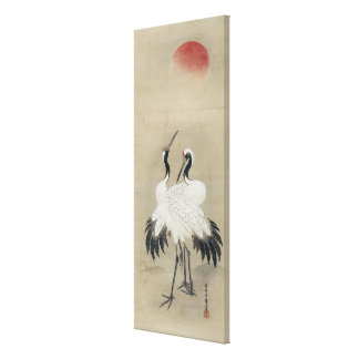 旭日双鶴図, 狩野洞春 Cranes & Morning sun, Kano Doushun Canvas Print