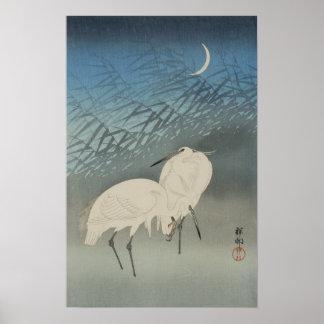 月と白鷺, 古邨 Egrets & Moon, Koson, Ukiyo-e Poster