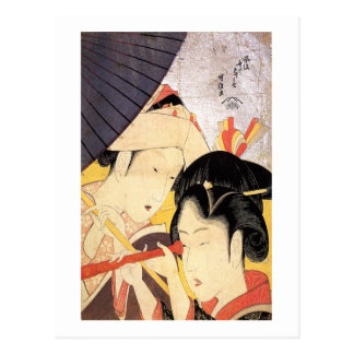 望遠鏡を覗く女, 北斎 Girl with Telescope, Hokusai, Ukiyo-e Postcard