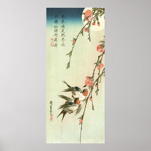 桃の花に燕, 広重 Peach Blossom and Swallow, Hiroshige Print