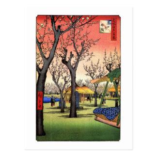 梅の庭園, 広重 Garden of The Plum, Hiroshige Ukiyoe Postcard