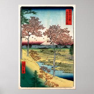 歌川広重 Sunset Hill Meguro, Utagawa Hiroshige Print