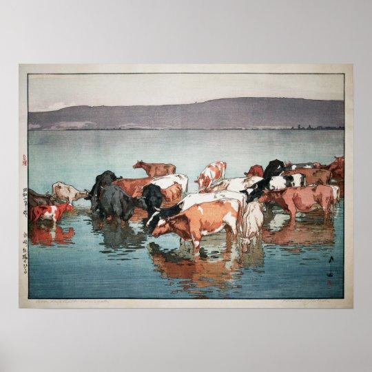 沼崎牧場の昼, Cows, Hiroshi Yoshida, Woodcut Poster