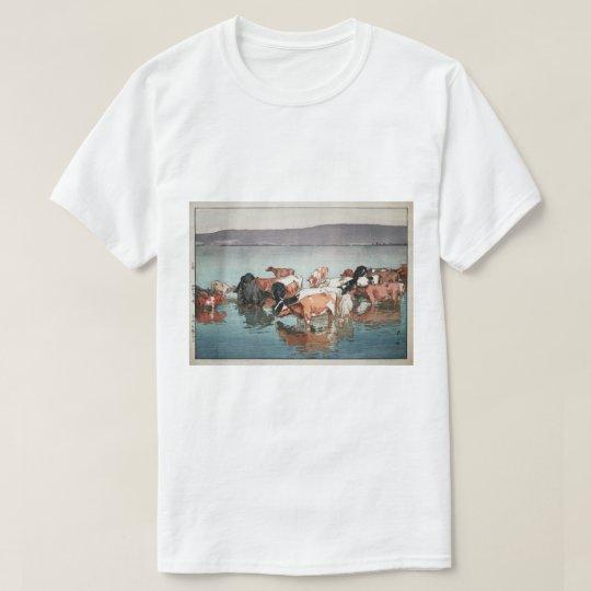 沼崎牧場の昼, Cows, Hiroshi Yoshida, Woodcut T-Shirt