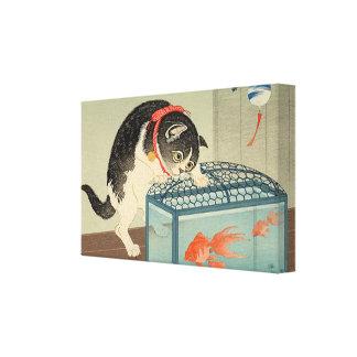 猫と金魚, 古邨 Cat & Goldfish, Koson, Ukiyo-e Canvas Print