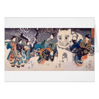 猫の雪だるま,国芳 Snowman of big Cat, Kuniyoshi, Ukiyo-e Card