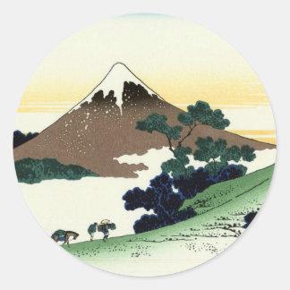 甲州犬目峠, 北斎 View Mt.Fuji from Inume, Hokusai Classic Round Sticker