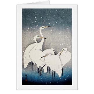 白鷺の群れ, 古邨 Group of Egrets, Ohara Koson, Woodcut Card