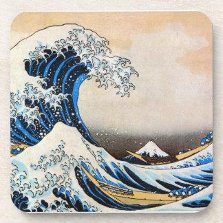 神奈川沖浪裏, 北斎 Great Wave, Hokusai, Ukiyo-e Beverage Coaster