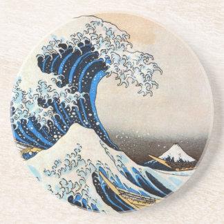 神奈川沖浪裏, 北斎 Great Wave, Hokusai, Ukiyoe Beverage Coaster