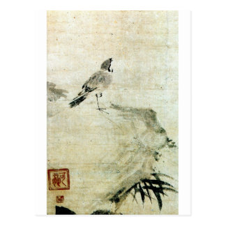 竹と雀, 可翁 Sparrow and Bamboo (detail), Kao Postcard
